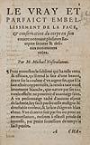 NOSTRADAMUS, MICHEL DE.  1557  Le vray et parfaict embellissement de la face, & conservation du corps en son entier [etc.].