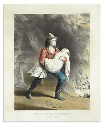 CURRIER & IVES. The American Fireman. Prompt to the Rescue.