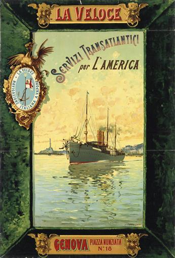 DESIGNER UNKNOWN. LA VELOCE / SERVIZI TRANSATLANTICI PER LAMERICA / GENOVA. Circa 1901. 38x25 inches, 96x65 cm. Armanino, Genova.