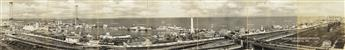 (CENTURY OF PROGRESS) A large 7-part panorama depicting the entire lakeside fairgrounds of the Chicago Worlds Fair as photographed by