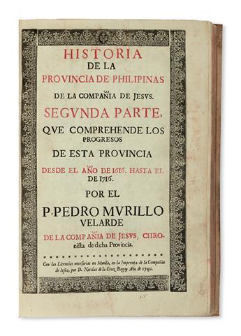 PHILIPPINES  MURILLO VELARDE, S. J. Historia de la Provincia de Philipinas de la Compañía de Jesús. Segunda Parte. 1749. Lacks the map.