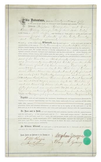 YOUNG, BRIGHAM. Partly-printed Document Signed, deed of sale transferring to his nephew Joseph F. Smith a lot of 15,150 square feet in