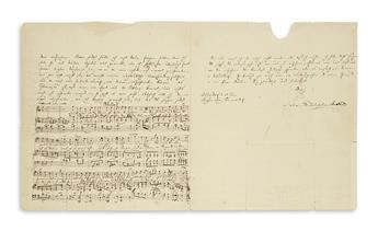 MENDELSSOHN-BARTHOLDY, FELIX. Autograph Letter Signed, including an Autograph Musical Manuscript, to philologist Adolf Friedrich Stenzl
