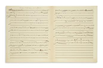 DELIBES, LÉO. Autograph Musical Manuscript dated and Signed, working draft of a work for bassoon and cello (Morceau à déchiffrer pour