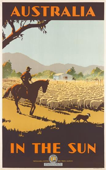 PERCIVAL (PERCY) ALBERT TROMPF (1902-1964). AUSTRALIA / IN THE SUN. Circa 1935. 39x25 inches, 100x63 cm. Troedel & Cooper Pty. Ltd., Me