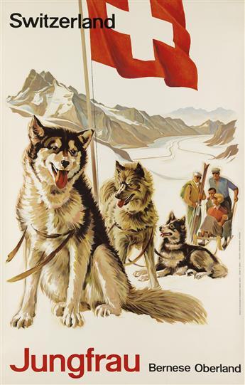 EDUARD WEBER (1910-1990). SWITZERLAND / JUNGFRAU BERNESE OBERLAND. Circa 1946. 40x26 inches, 103x66 cm. Polygraphic Company, Laupen.