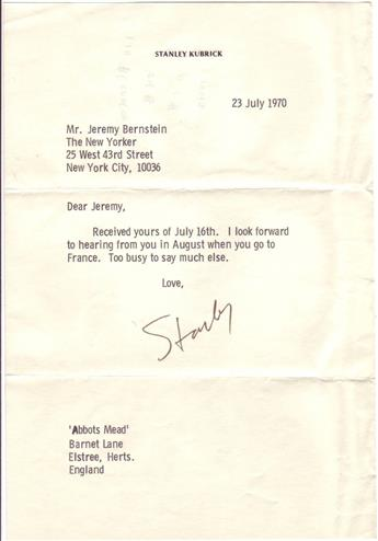 KUBRICK, STANLEY. Two brief Typed Letters Signed.