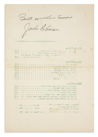ROBINSON, JACKIE. Autograph inscription Signed, Best wishes Ewen / Jackie Robinson, in pencil,