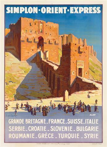 JOSEPH DE LA NÉZIÈRE (1873-1944). SIMPLON - ORIENT - EXPRESS. 1927. 42x31 inches, 108x79 cm. Lucien Serre, Paris.
