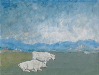 ARTHUR B. DAVIES Italian Landscape with Two White Bulls.