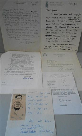 (SCIENTISTS.) Group of 5 letters by prominent 20th-century scientists, each to Jeremy Bernstein, including two Autograph Letters Signed