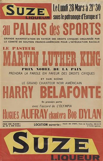 (KING, MARTIN LUTHER, JR.) Poster for a French appearance by Dr. King and Harry Belafonte.