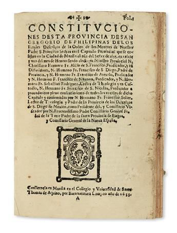 PHILIPPINES  FRANCISCANS.  Constituciones desta Provincia de San Gregorio de Philipinas.  1655