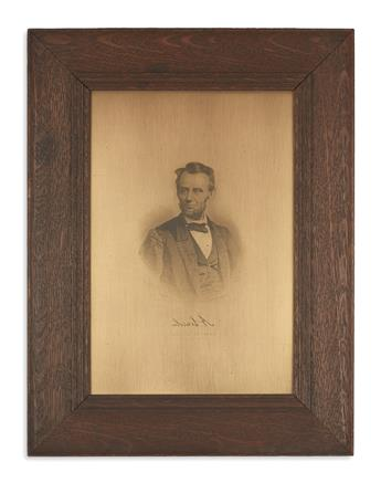 (PRINTS--PRESIDENTIAL.) Perine, George E.; engraver. Original engraving plate for Abraham Lincoln, President of the United States.