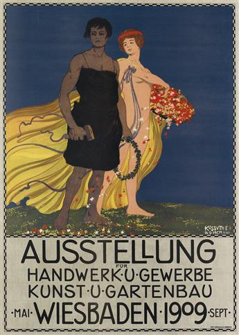 EGON JOSEF KOSSUTH (1874-?). AUSSTELLUNG / WIESBADEN. 1909. 33x24 inches, 84x61 cm. Fritz Schneller, Nurnberg.