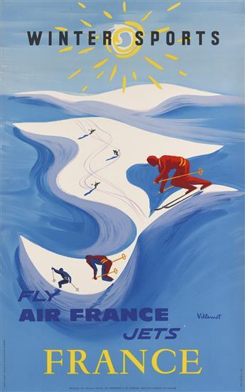 BERNARD VILLEMOT (1911-1989). WINTER SPORTS / FLY AIR FRANCE JETS. 1954. 39x24 inches, 99x61 cm. S.A. Courbet, Paris.
