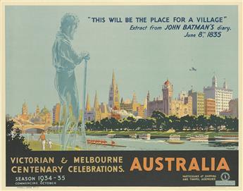PERCIVAL (PERCY) ALBERT TROMPF (1902-1964). VICTORIAN & MELBOURNE CENTENARY CELEBRATIONS, AUSTRALIA. 19x25 inches, 50x63 cm. Troedel &