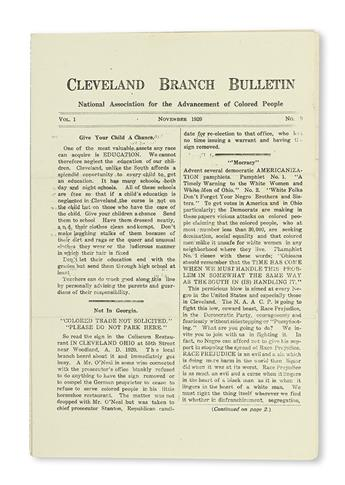 (CIVIL RIGHTS.) NAACP. Volume 1, numbers 3, 4, 8, and 9 of the Cleveland Branch Bulletins of the NAACP.