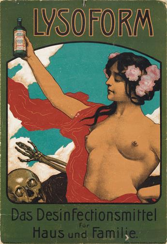 FERDINAND SCHULTZ-WETTEL (1872-1957). LYSOFORM. Window card. Circa 1902. 11x7 inches, 28x19 cm. Niedlersedlitz, Dresden.