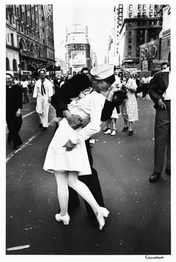 ALFRED EISENSTAEDT (1898-1995) V-J Day Kiss, Times Square, New York City.