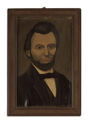 (PAINTINGS.) [Doubrava, Joseph; artist.] Early folk-art portrait of Lincoln.