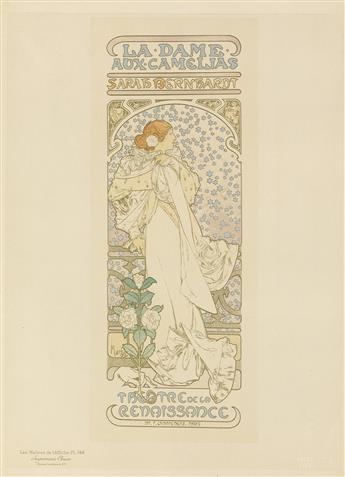 ALPHONSE MUCHA (1860-1939). LA DAME AUX CAMELIAS. Maîtres de lAffiche pl. 144. 1898. 15x11 inches, 40x29 cm. Chaix, Paris.