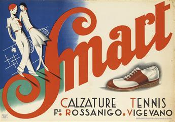 DESIGNER UNKNOWN. SMART / CALZATURE TENNIS. 1934. 27x39 inches, 70x100 cm. Grafiche Sirtoli, Milan.