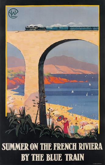 ALO (CHARLES HALLO, 1882-1969). SUMMER ON THE FRENCH RIVIERA / BY THE BLUE TRAIN. 1922. 37x24 inches, 96x61 cm.