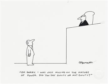 (THE NEW YORKER / CARTOON.) CHARLES BARSOTTI. Oh, sorry. I was just musing on the nature of power. Did you say guilty or not guilty?