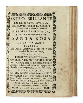 PHILIPPINES  GAMA, LEONARDA GIL DA [pseud.]. Astro Brillante en el Nuevo Mundo.  1755