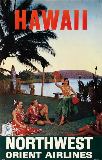 DESIGNER UNKNOWN. HAWAII / NORTHWEST ORIENT AIRLINES. 39x25 inches, 101x64 cm.