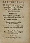 NOSTRADAMUS, MICHEL DE.  1557  Les Presages Merveilleux pour lan. 1557.