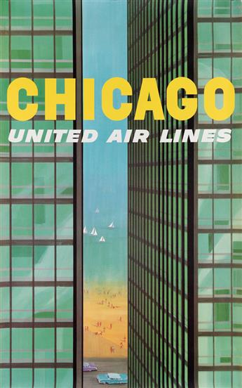 STANLEY WALTER GALLI (1912-2009). CHICAGO / UNITED AIR LINES. Circa 1955. 40x25 inches, 101x63 cm.