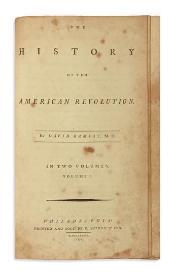 (AMERICAN REVOLUTION--HISTORY.) Ramsay, David. The History of the American Revolution.
