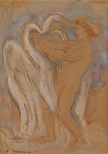 ANTOINE BOURDELLE (Montauban 1861-1929 Le Vésinet) Leda and the Swan.