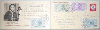 CHIANG KAI-SHEK; AND SOONG MEI-LING. Two postcards, each Signed by one,