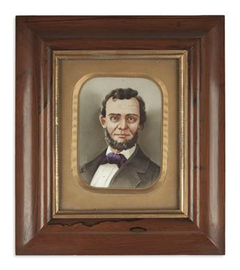 (PAINTINGS.) Unsigned portrait of Lincoln on glass.