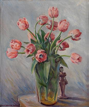 LAURA WHEELER WARING (1887 - 1948) Untitled (Still Life with Tulips and Figurine).