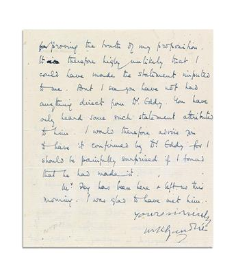GANDHI, MOHANDAS K. Letter Signed, yours sincerely / MKGandhi, to Dr. John Haynes Holmes (Dear Dr. Holmes), in English,