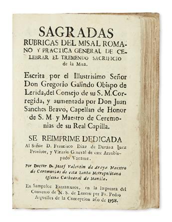 PHILIPPINES  CATHOLIC LITURGY.  Galindo, Gregorio, Bishop of Lérida. Sagradas Rúbricas del Misal Romano.  1798