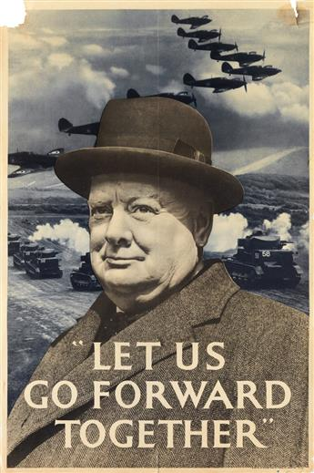 DESIGNERS UNKNOWN. [WORLD WAR II / WINSTON CHURCHILL.] Group of 3 posters. Circa 1940. Each approximately 30x20 inches, 76x50 cm.