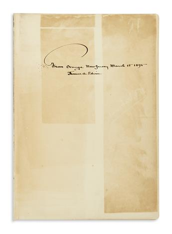EDISON, THOMAS A. W.K.L. Dickson and Antonia Dickson. Life and Inventions of Thomas Alva Edison. Signed and Inscribed on the front free