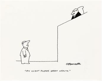 (THE NEW YORKER / CARTOON) CHARLES BARSOTTI. My client pleads great wealth.