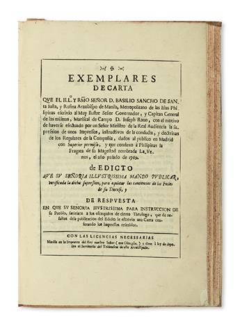 PHILIPPINES  SANCHO HERNANDO, BASILIO TOMÁS. Bound volume containing 5 publications relating to the expulsion of the Jesuits. 1768-70