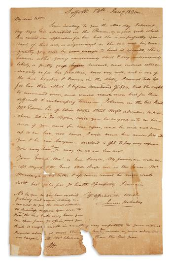 (SLAVERY AND ABOLITION.) Holladay, James. Letter describing his servant in detail for a sale advertisement.