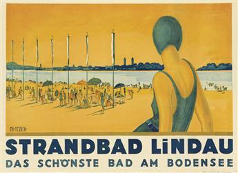CHARLES METZGER (DATES UNKNOWN). STRANDBAD LINDAU. Circa 1930. 31x43 inches, 79x109 cm.