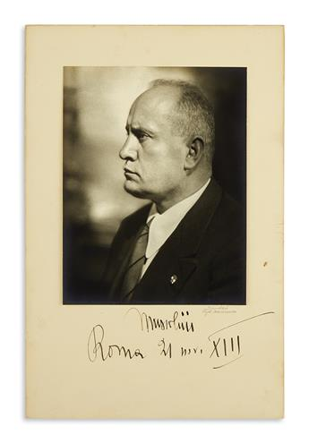 MUSSOLINI, BENITO. Photograph dated and Signed, Mussolini, bust portrait by Vogel-Marinucci,