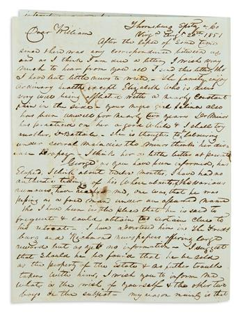 (SLAVERY AND ABOLITION.) McCalley, John W. Letter describing an escaped slave and the circumstances surrounding his flight.