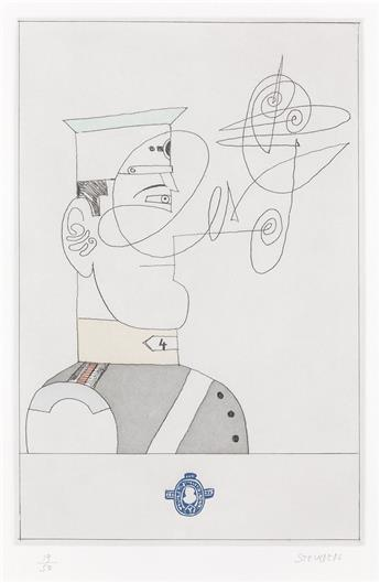 SAUL STEINBERG Group of 4 color etchings with aquatint.