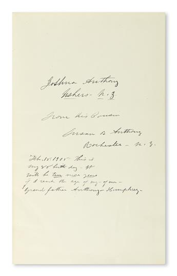 THIS IS MY 85[TH] BIRTH DAY (SUFFRAGISTS.) SUSAN B. ANTHONY. History of Woman Suffrage. Signed and In...